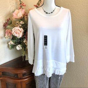 Vera Wang Ruffle Bottom Sweatshirt